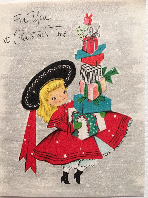 Vintage Christmas Card Little Girl Shopping Pink and Aqua