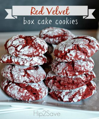 Red Velvet Box Cake Cookies. A delicious treat that you and the kids will enjoy.