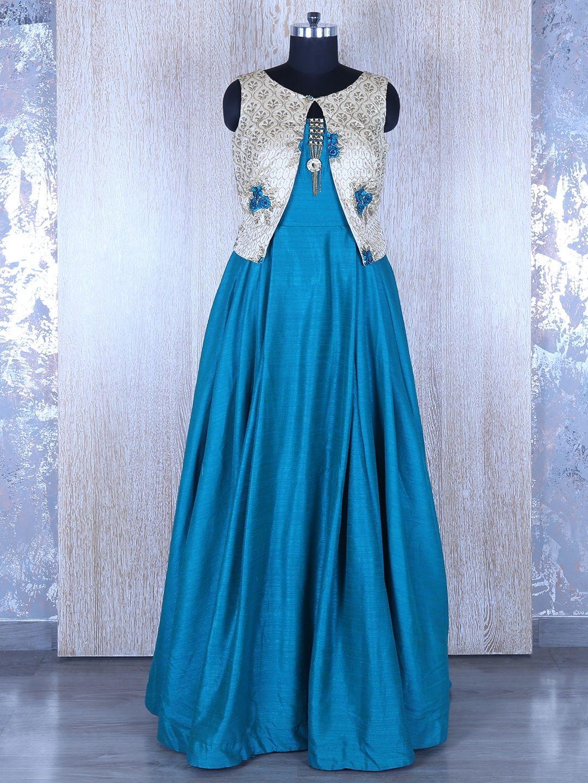 Blue Silk Long Designer Anarkali Suit | kurti | Pinterest | Designer ...