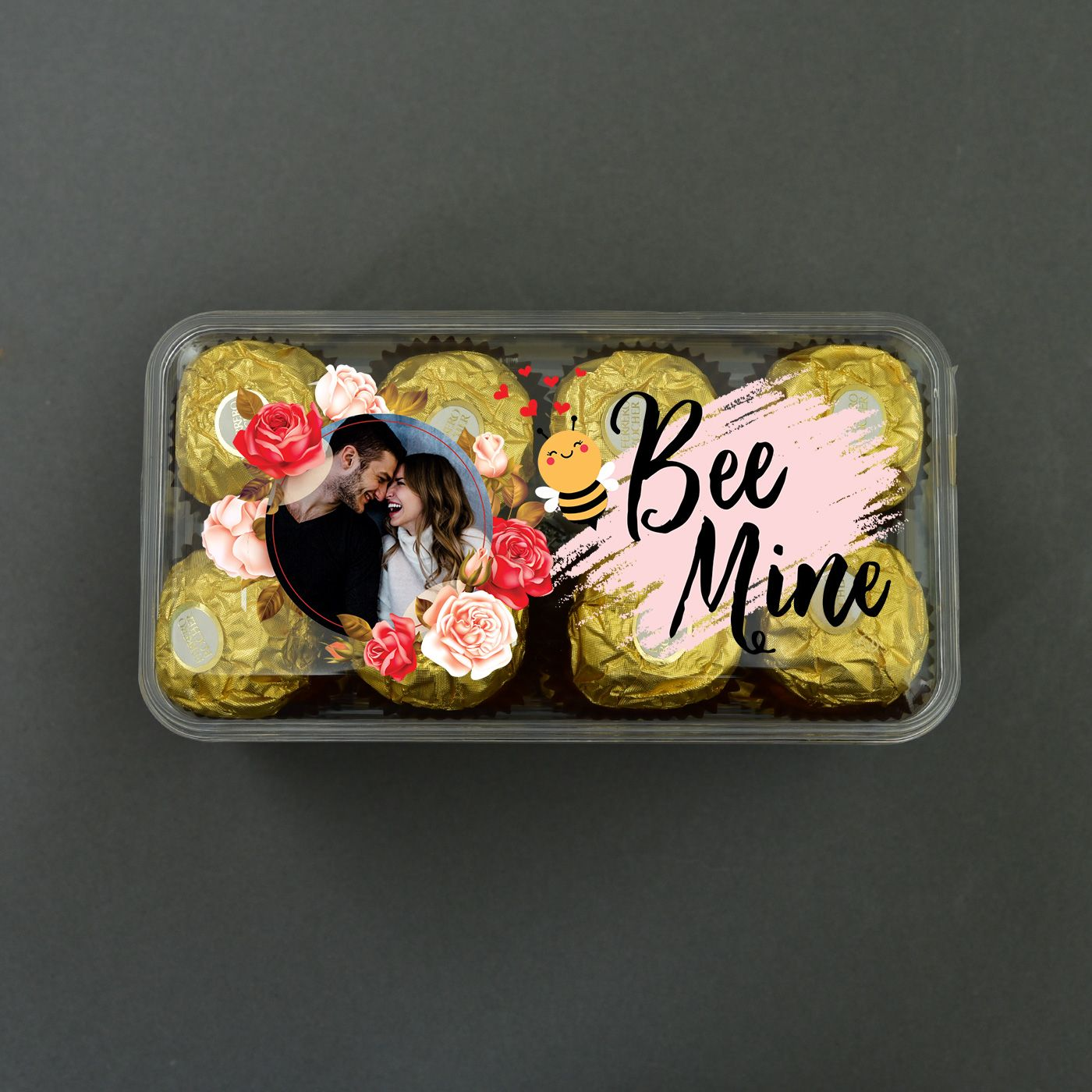 Be mine personalized photo box of 16 pc ferrero rocher in