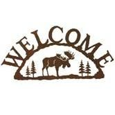 For the front gate? Adirondack Moose Rustic Cabin Lodge Welcome Sign