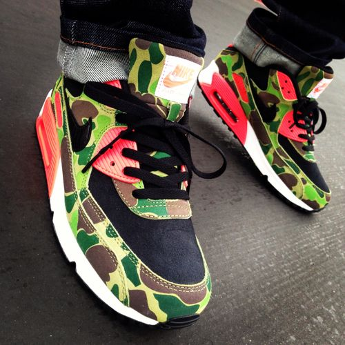 buy popular 26933 bbd9a FEET  Nike Air Max 90 Duck Hunter Camo. Black Black-Chlorophyll-Infrared    available at Sports Lab by atmos. Japan.