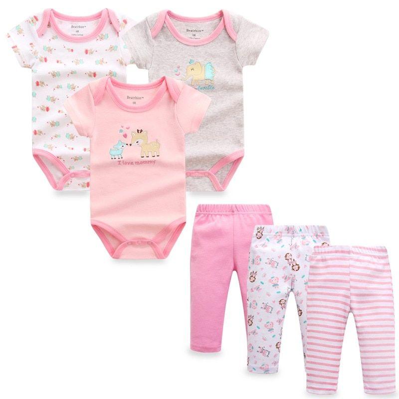 6 Unids Lote Conjunto De Ropa De Nina Bebe Nino Nina Mamelucos Pantalones De Algodon Ropa Infantil Ropa Para Bebe Varones Ropa De Bebe Recien Nacido Ropa Bebe