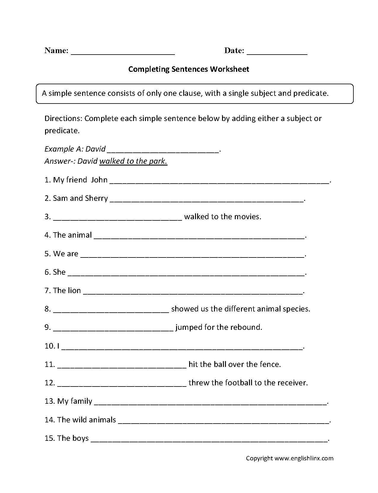 Completing Sentence Worksheet