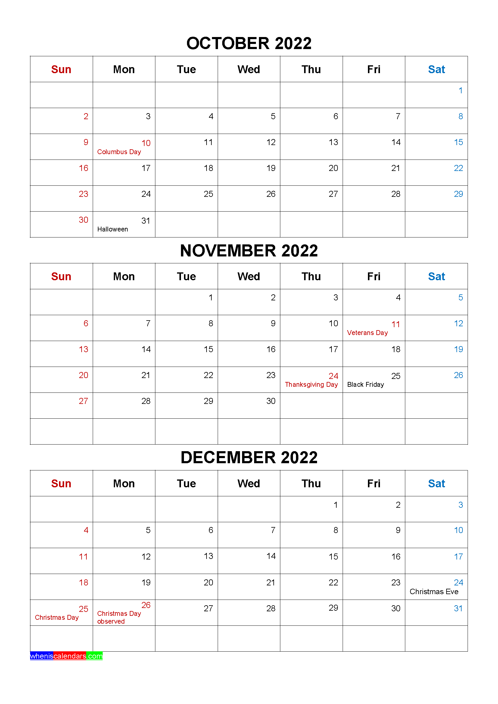 Printable December 2022 Calendar Word.Free October November December 2022 Calendar With Holidays Four Quarters Calendar Printables Calendar Template Free Printable Calendar