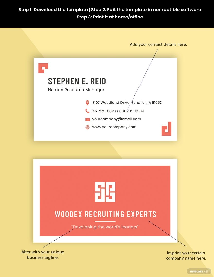 Free Professional Hr Business Card Template Word Doc Psd Apple Mac Pages Google Docs Illustrator Business Card Template Word Business Card Template Free Business Card Templates