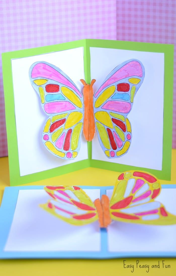 Diy Butterfly Pop Up Card With A Template Bug Crafts Pop Up Card Templates Butterfly Crafts