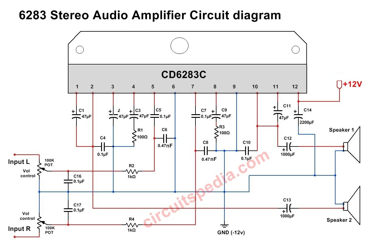 Stereo Audio Amplifier using CD6283/TDA6283 | CD6283 Stereo