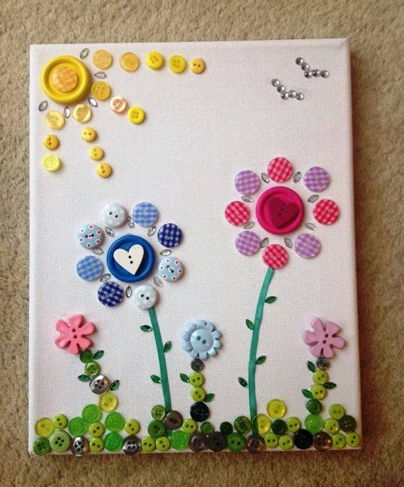 Button On Canvas Art Easy Arts And Crafts Ideas Ribbons Lace