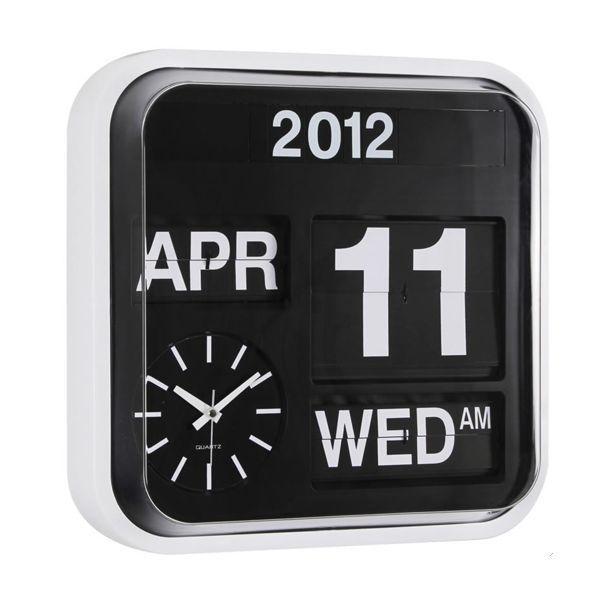 Retro Square Auto Flip Calender Wall Clock - White in Home ...