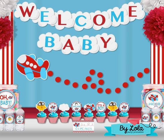 Airplane aviator baby shower party package super package for Airplane baby shower decoration ideas