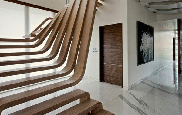 Treppenhaus Gestalten Holz Trittstufen Detail