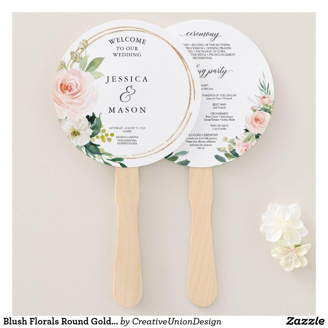 Blush florals round gold wedding program fan summer wedding