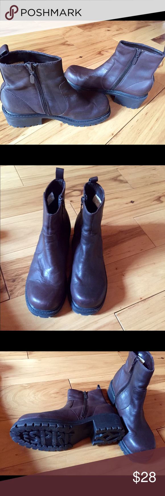 Esprit Brown Leather Boots Cute leather boots.  Worn once, but in very good condition.  A couple of minor scratches in the front of one of the boots.  Before shipping, I will polish them.  Size 8.  Ready for fall and winter! Esprit Shoes Ankle Boots & Booties