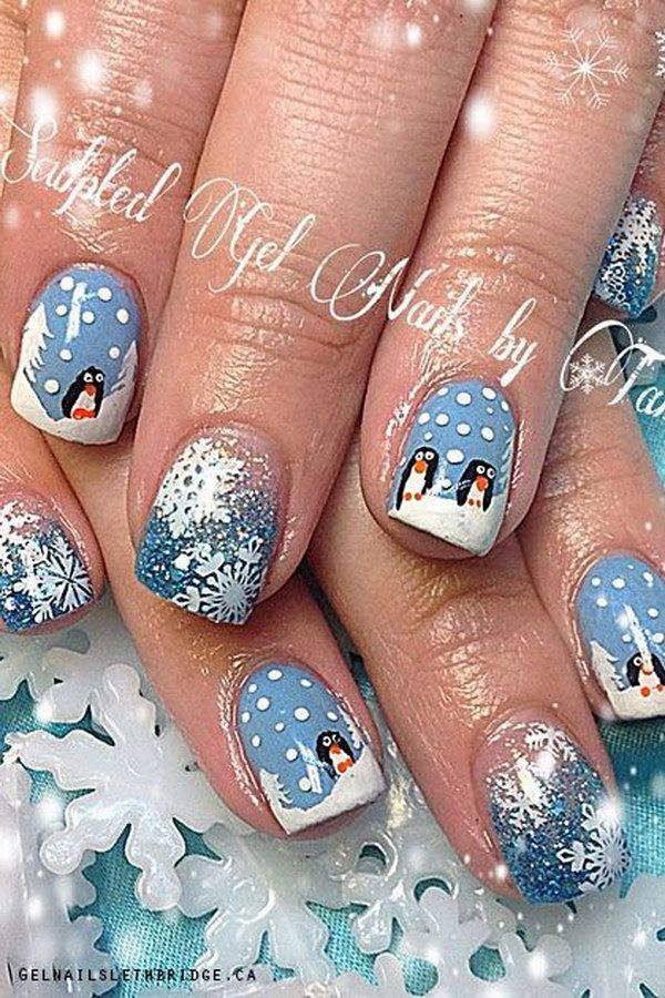 50 festive christmas nail art designs penguin nail art
