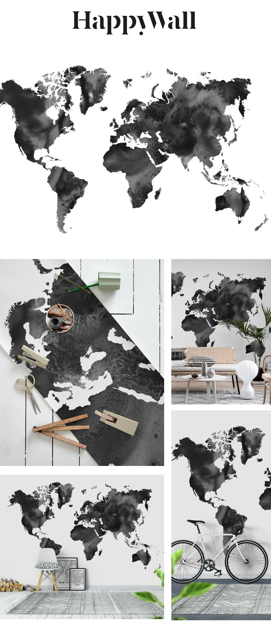 Watercolor World Map in Black Wall mural #worldmapmural Watercolor World Map in Black wall mural from Happywall #traveler #travelworldmap #worldmap #studio #painting #watercolours #wanderlust #wallmurals #wallmural #loft #modern #livingroom #lobby #adventurers #boysroom #teenagers #bedroom #nordic #maison #watercolor #white #happywall #contemporary #office #blackandwhite #hotel #wallpapers #interiors #scandinavian #modernliving #adventure #travelmap #wallpaper #worldmapmural Watercolor World Map #worldmapmural