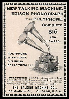 Edison Talking Machine Gramophone Poster ad  USA  art print