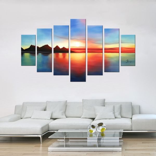 'Colorful Sunset' 7-piece Gallery-wrapped Hand Painted Canvas Art Set - Overstock Shopping - Top Rated Otis Designs Canvas