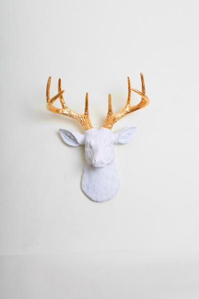 The Mini Alfred Mini White Amp Gold Antlers Faux Taxidermy