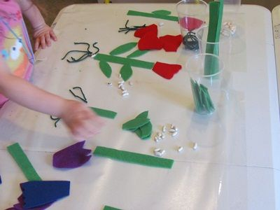 the sticky table - use science table to do this  Can use pattern blocks, straws, misc materials/use numeral cards and chldren can place correct amt of manipulatives underneath