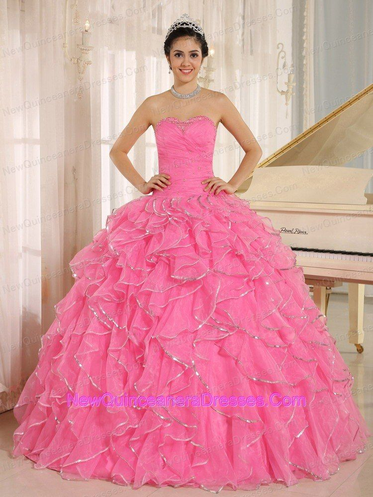 2013 Ruffles and Beaded For Rose Pink Quinceanera Dress Custom ...