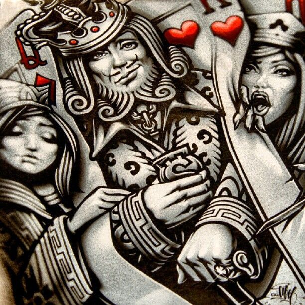 Queen Of Hearts Alt Artwork Illustration In Style Card Tattoo
