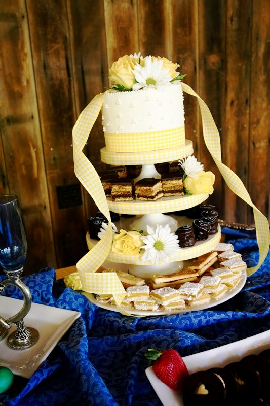 Pretty little yellow and white gingham cutting cake with fresh ...