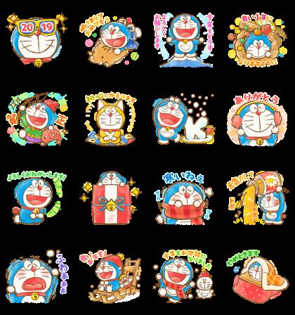 Doraemon New Year's Omikuji Stickers — Sticker for LINE