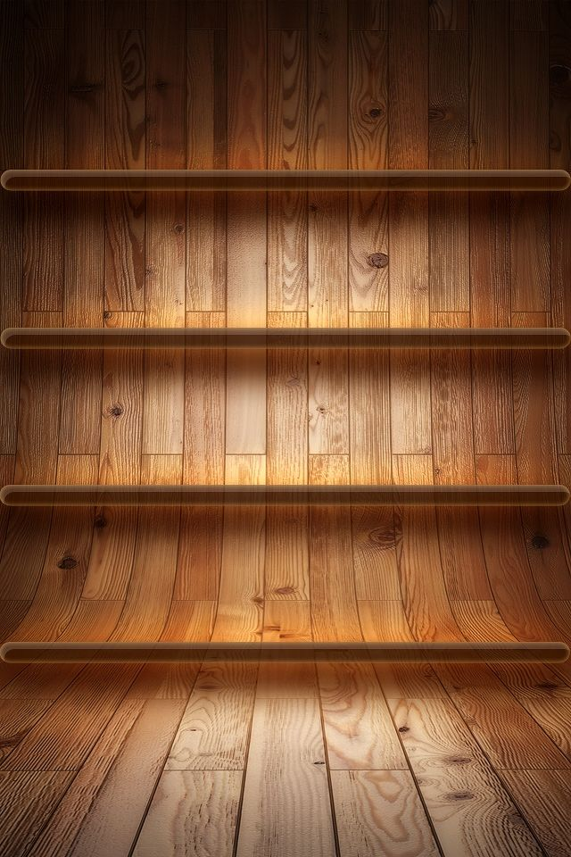 Homescreen Background Shelves Wood Receding