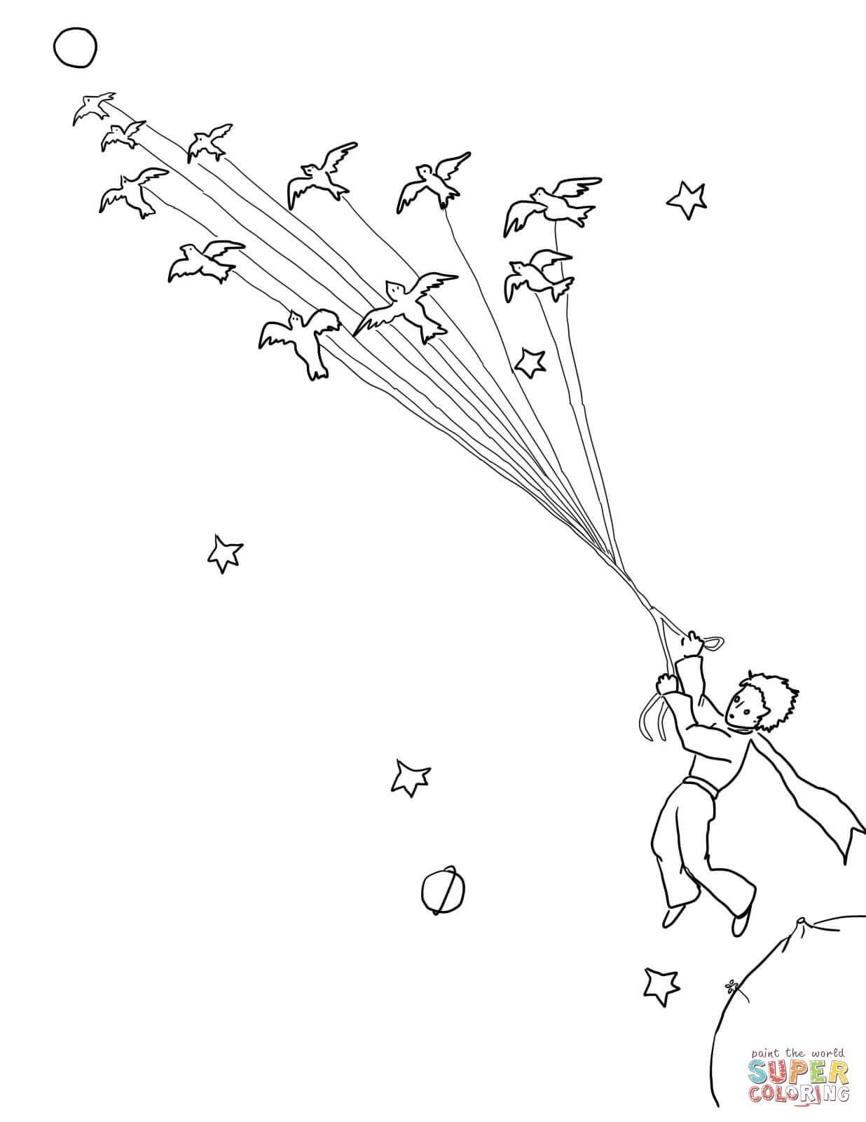 Little Prince Leave His Planet With Migrating Birds