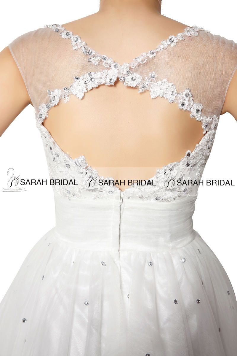 White or ivory tulle short mini prom dress cocktail dress ball