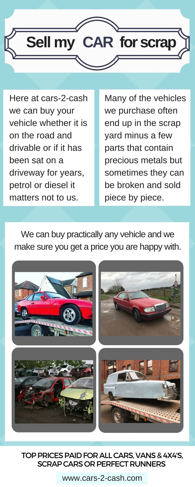 Here at cars-2-cash we can buy practically any vehicle and we make ...
