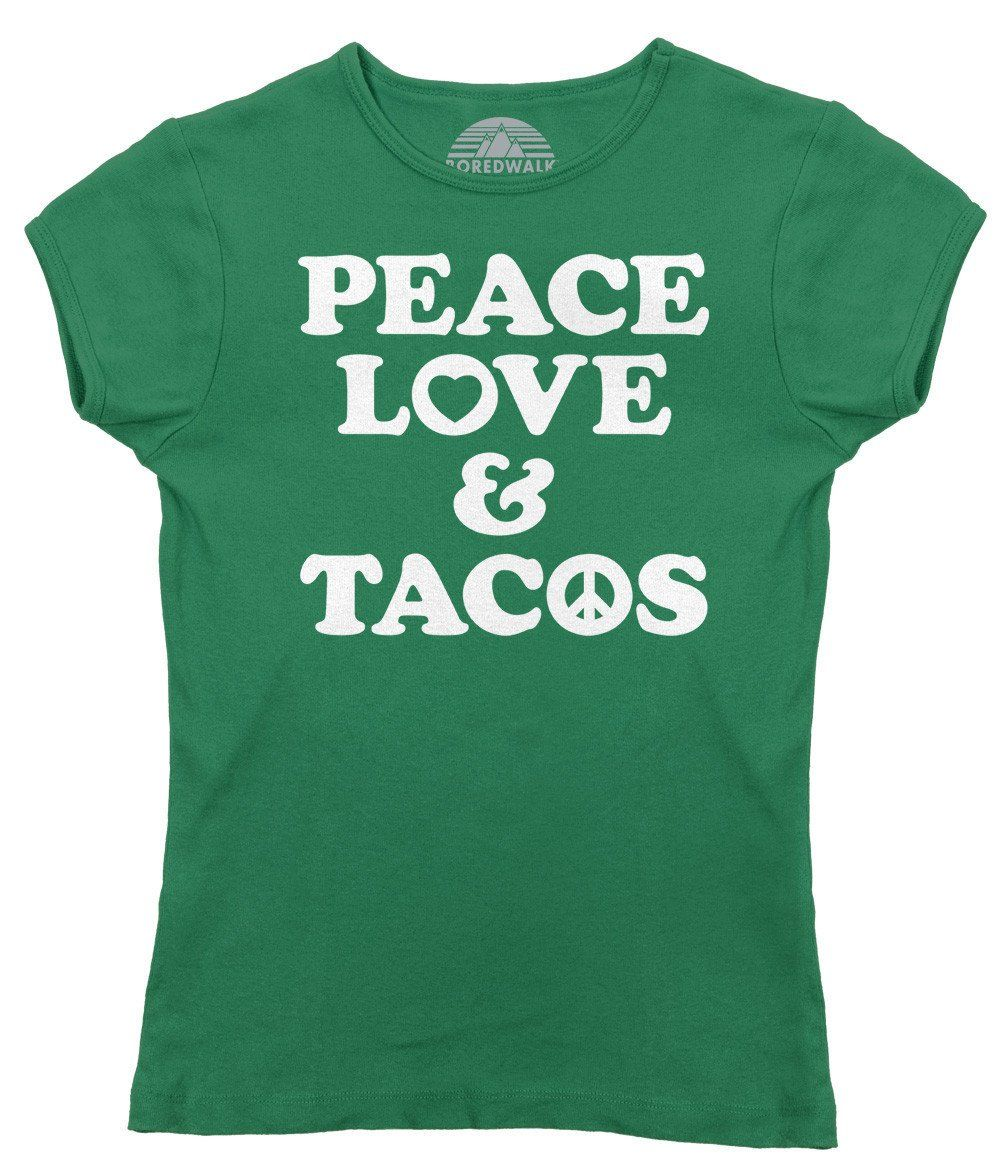 909e2043 Foodies who want to spread chill vibes will love this hippie inspired taco  shirt. It makes a great festival shirt or Taco Tuesday look.