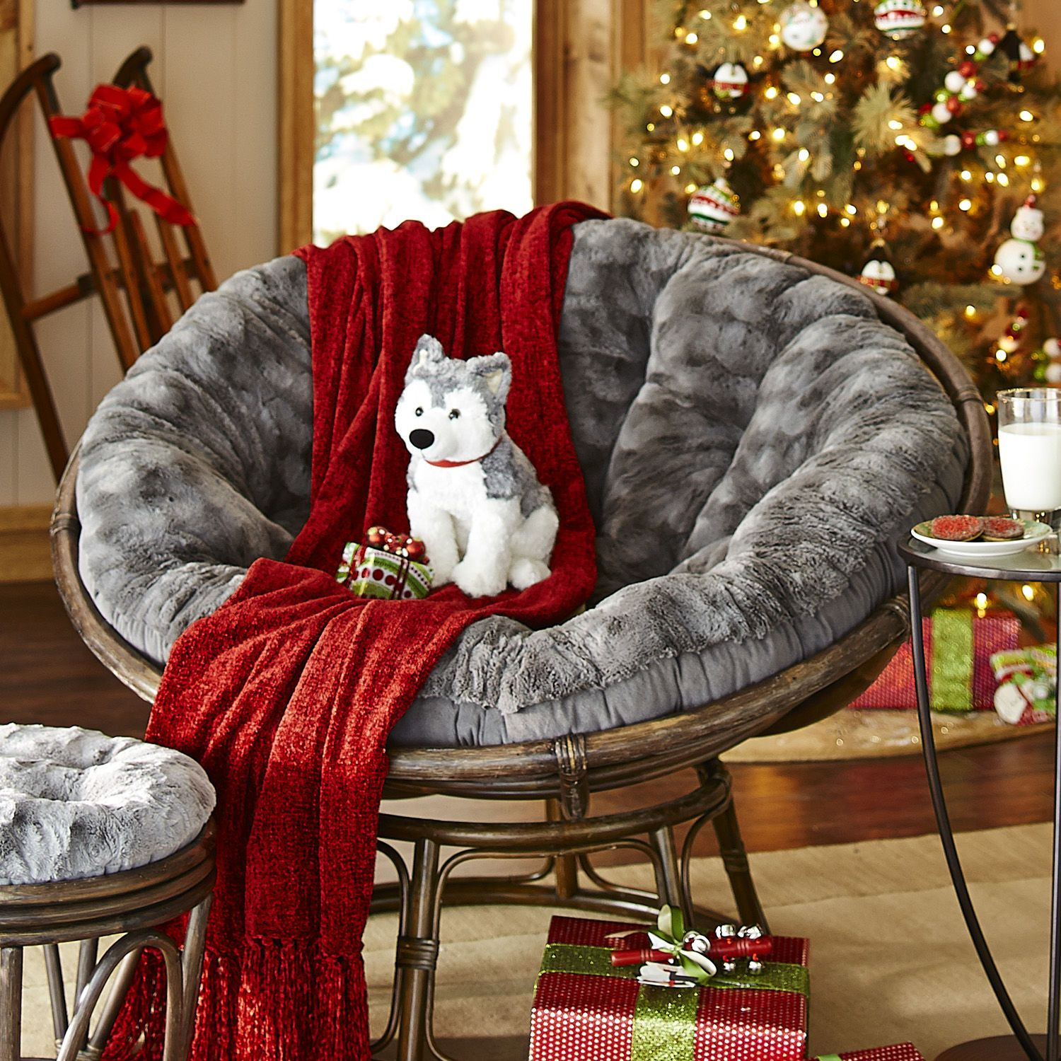 Fuzzy Charcoal Papasan Cushion In 2019 Living Room Set