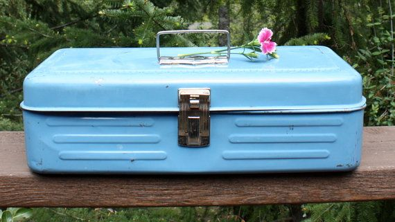 Vintage Light Blue Tackle Box by BlissEclecticDesigns on Etsy