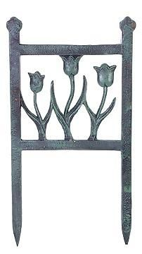 Cast Iron Tulip Garden Edging (Green Finish) - great for any new or old garden. Made from solid cast iron too - this edging will outlast any plants. Very traditional design. Found online at Look In The Attic - www.lookintheattic.com