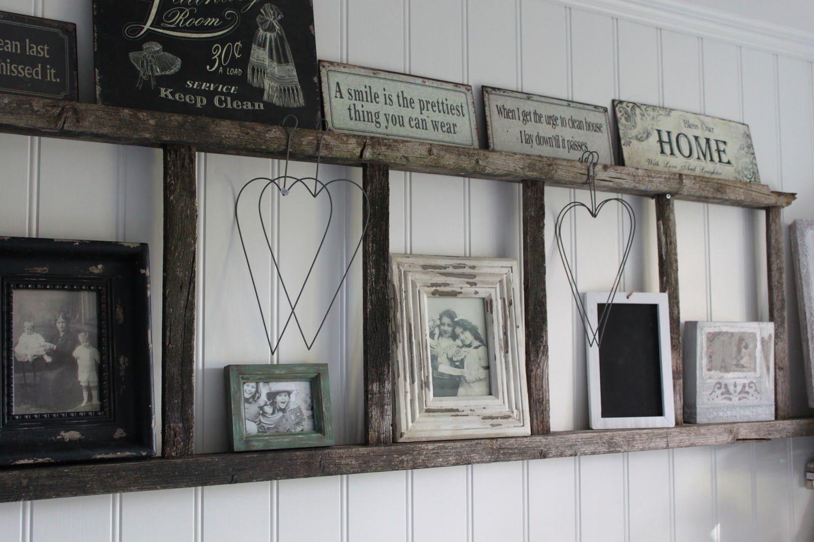 Old ladders repurposed as home decor diy shelving repurposed and
