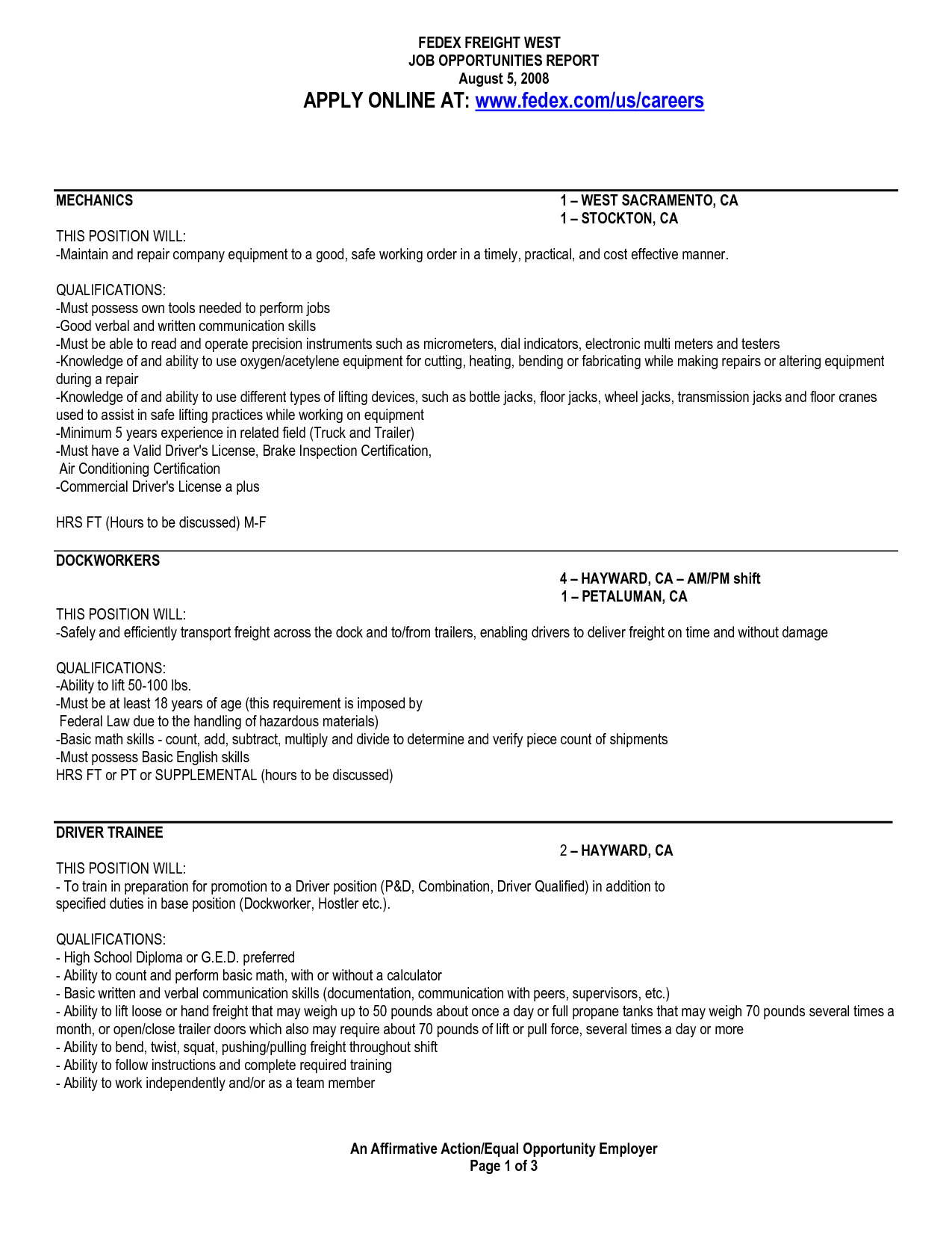 Fedex Dock Worker Sample Resume Origin The Word Free Hardware