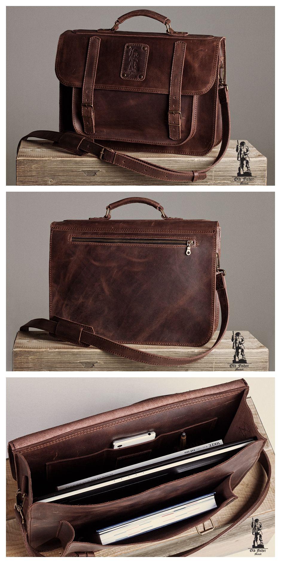 Laptop bag Leather Bag Laptop Shoulder Bag Real Genuine Leather Travel Bag