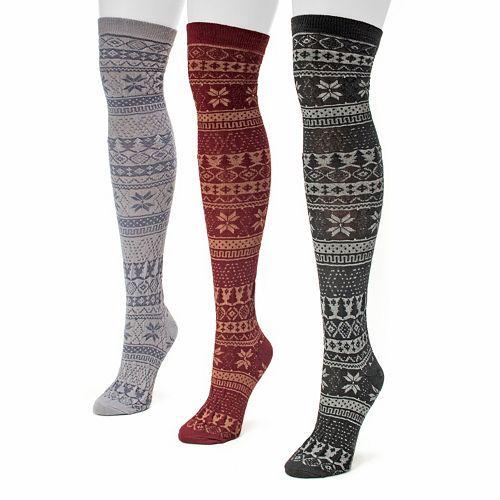 MUK LUKS 3-pk. Women's Fairisle Microfiber Over-The-Knee Socks ...