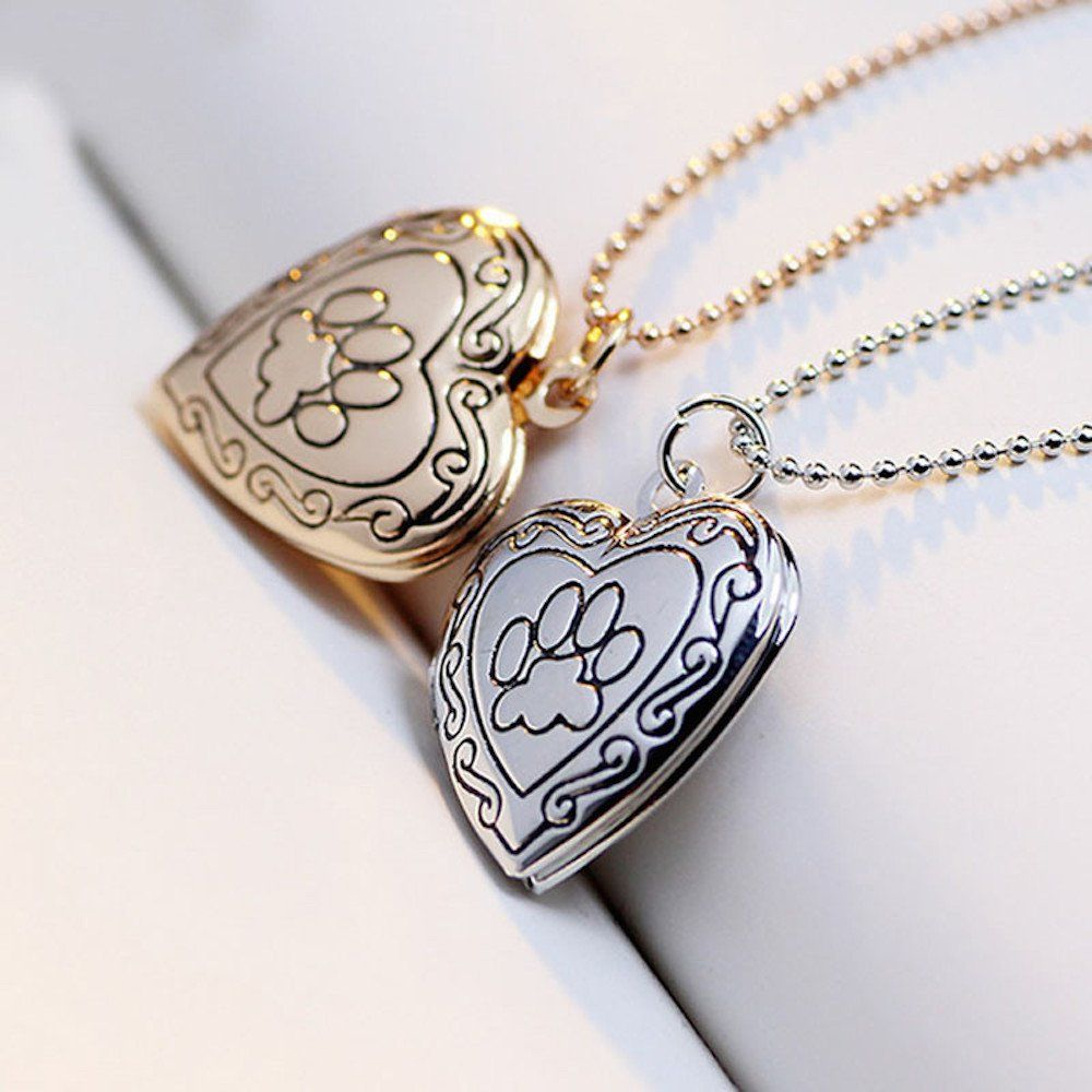 Fashion Silver Heart Dog Paw Pendant Necklace Charm Floating Chain Jewelry Gift