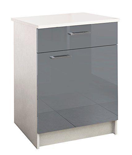 berlioz creations bas meuble de cuisine 1 porte 1 tiroir panneaux de particules gris 60 x