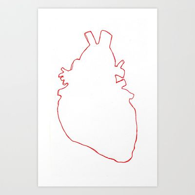 Linear anatomical heart Art Print by Laurel Howells