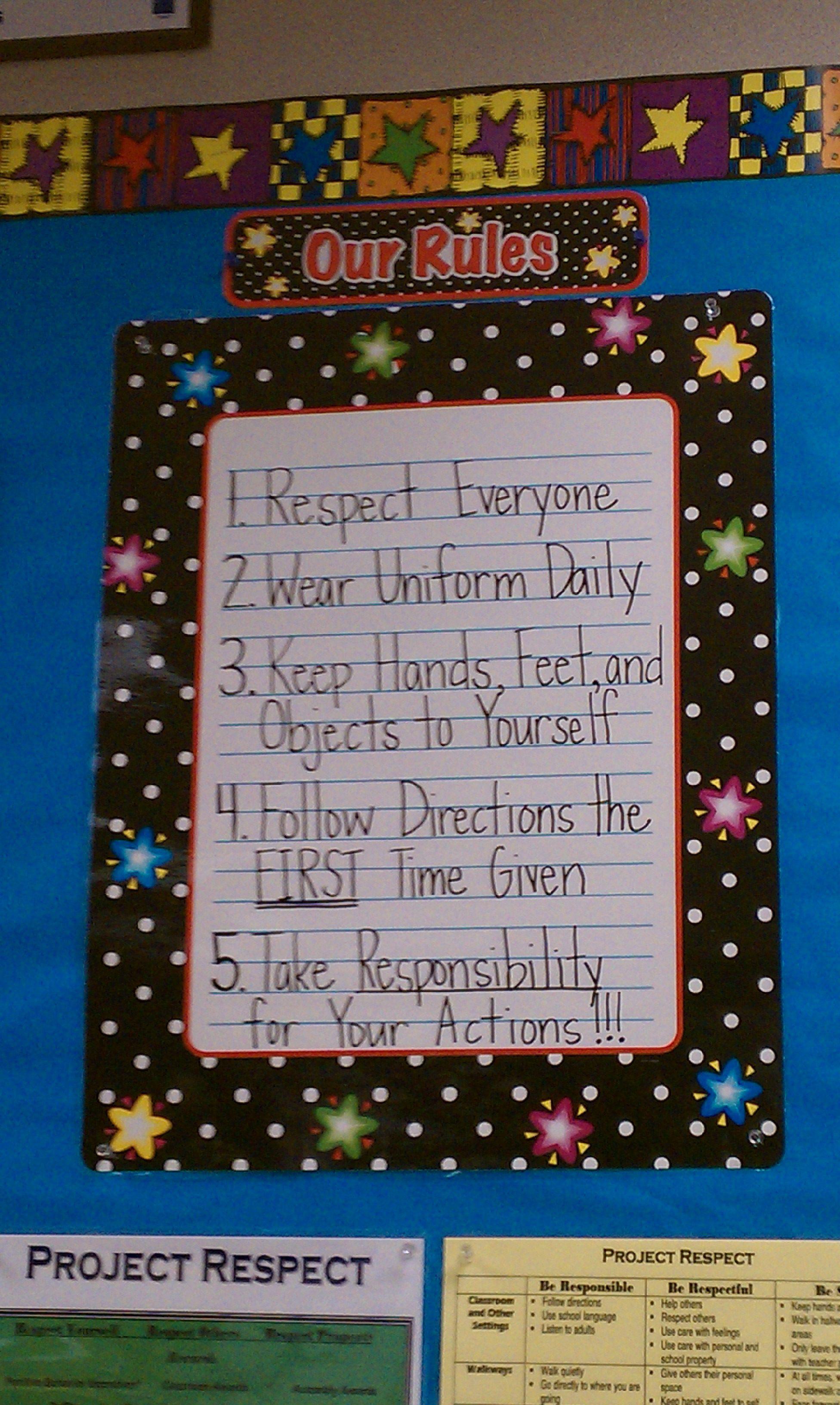 Classroom Rules 5th Grade