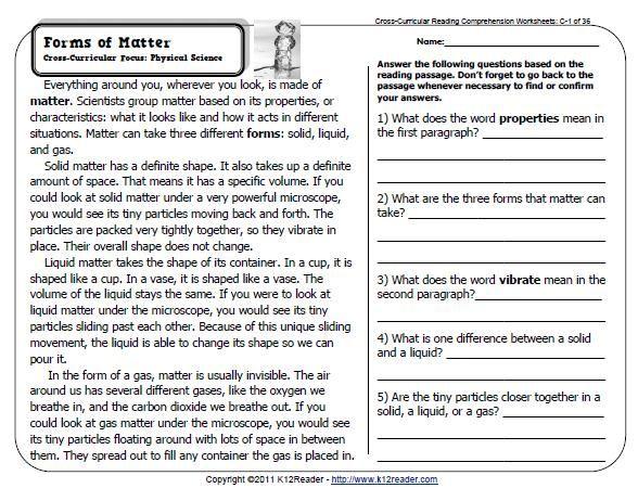 85+ Reading 6th Grade Worksheets Printable
