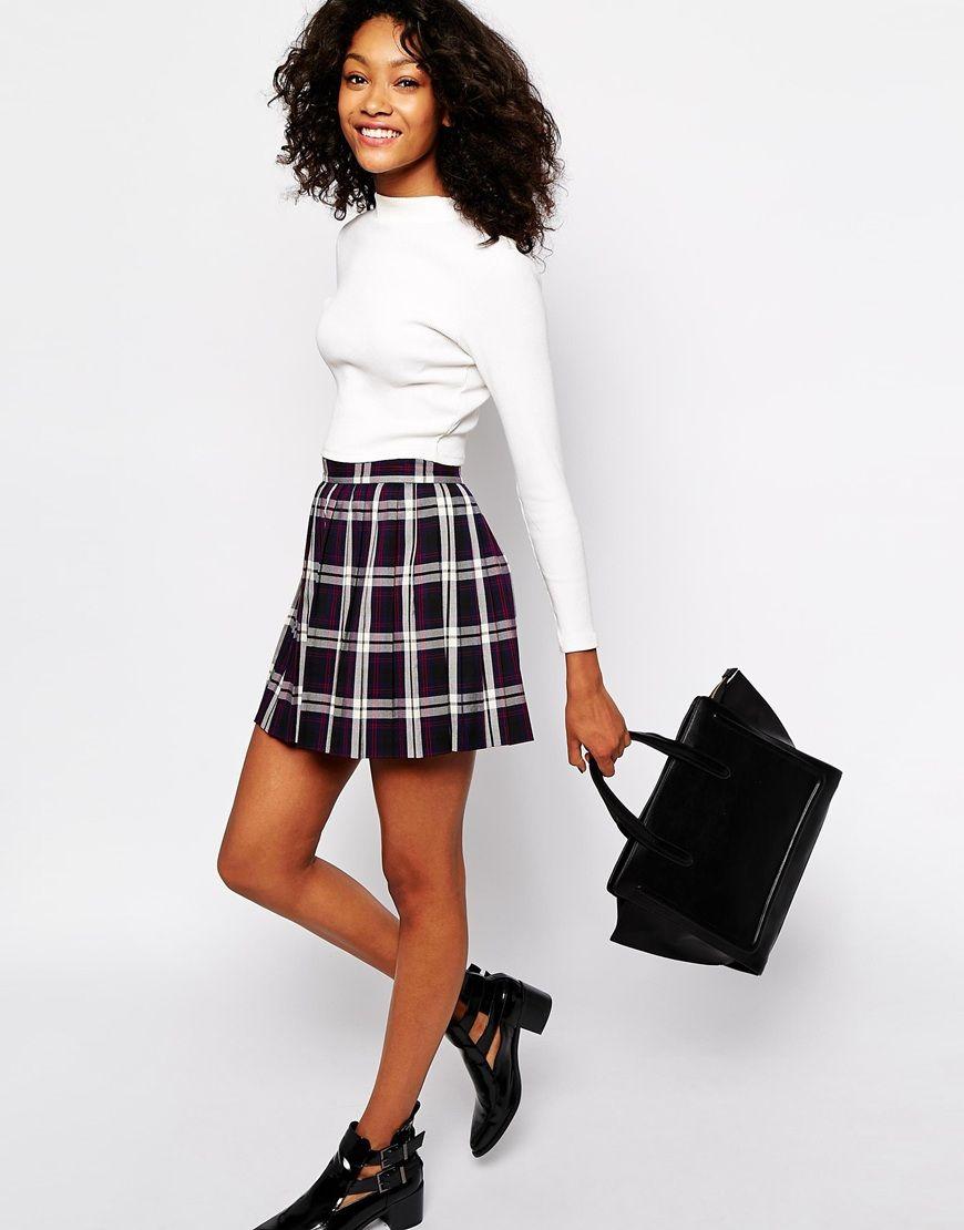 ef8192c69b Monki Check Print Mini Skirt   Outfits   Mini skirts, Skirts, Dress ...