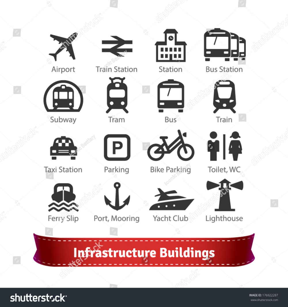 Infrastructure Buildings Icon Set Road And Water City Transportation Stations And Parking Signs For Use With Maps And I Building Icon Icon Set Infrastructure
