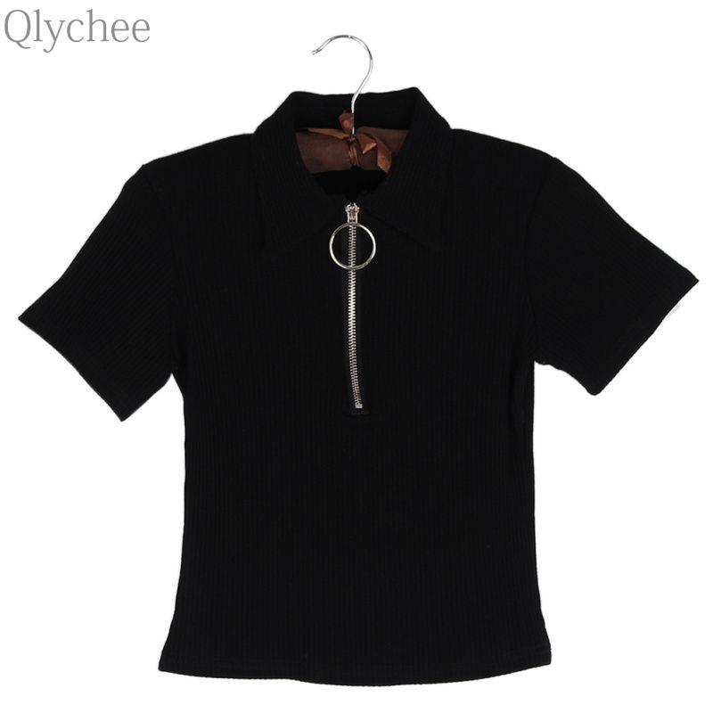 6615b794ef0 Qlychee Zip Ring Short Sleeve T Shirt Women Summer Punk Wine Red Black Tees  Tops-