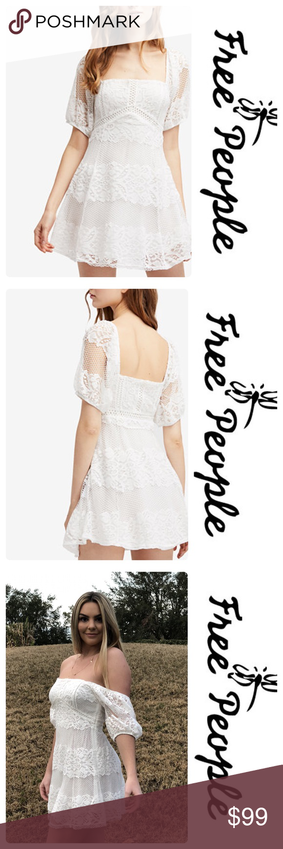 """a2a6cd66f71 Free People """"Be Your Baby Lace Mini"""" Dress Ivory New with tags white Free"""