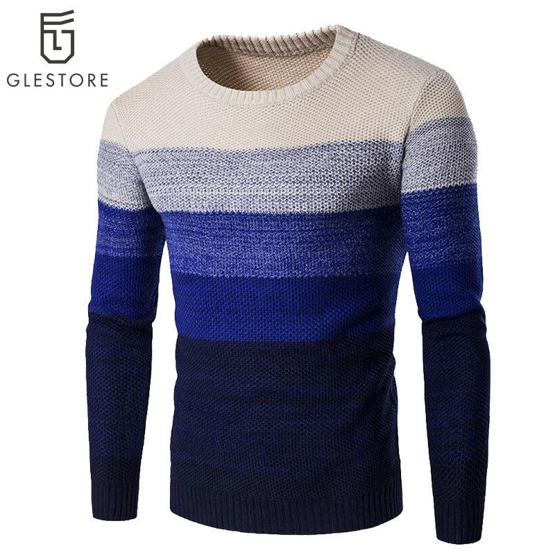 Cheap Causal Hombres Suéter de Otoño/Invierno de la Raya Y Kintted Suéteres  Para Hombre